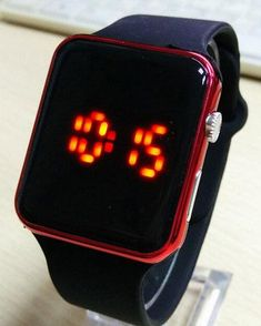 2016 New Fashion Square Mirror Face Silicone Band Digital Watch Red LED Watches Metal frame WristWatch Sport Clock Hours 6colors
