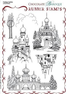 Chocolate Baroque Fantasy Castles Rubber Stamp contains beautifully ornate and detailed buildings from around the world.