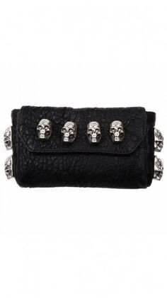 Skull leather clutch