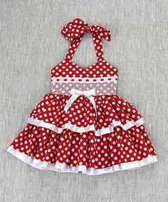 Red Polka-Dot Halter Dress - Toddler & Girls