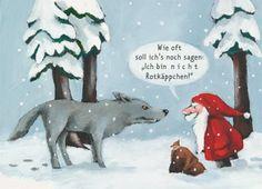 Wolf + Little Red Riding Hood + Santa Claus - Christmas Jokes, Christmas Fun, Pop Rock Songs, Charles Perrault, Funny Jokes, Hilarious, Funny Xmas, Learn German, Humor Grafico