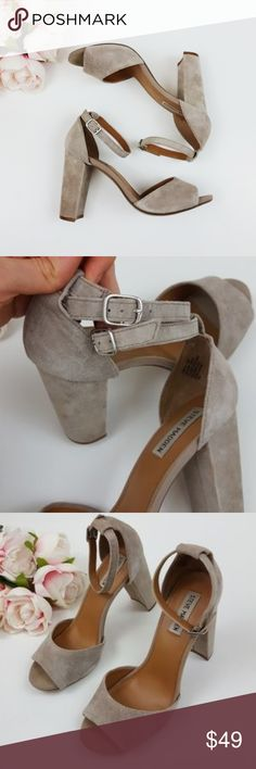 Steve Madden suede vlock heels size 9.5 -E3 Used but in good condition! Steve Madden block style heels size 9.5. Gray/beige color. Strap is in good condition! Used item: pictures show any signs of wear. Inspected for quality. Bundle up! Offers always welcome:)  Check out my husband's closet: @kirchingeraaron Steve Madden Shoes Heels