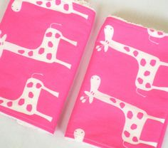 Baby Burp Cloths  Set of Two Pink Giraffe with White by avaelliot, $14.00
