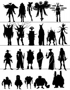 Silhouettes that show different size, shape, body proportion, costume, weapons and style.