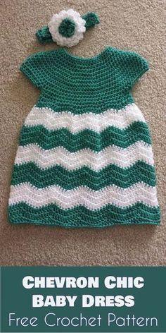 Crochet Baby Girl Chevron Chic Baby Dress - Free Crochet Pattern - All the best free crochet patterns. Crochet Tree Skirt, Crochet Dress Girl, Crochet Baby Dress Pattern, Baby Dress Patterns, Baby Clothes Patterns, Baby Girl Crochet, Crochet Baby Clothes, Crochet Jacket, Crochet Patterns