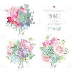 Pink rose, protea, mint and. Protea Bouquet, Gift Bouquet, Bouquets, Colorful Succulents, Small Succulents, Echeveria, Design Vector, Succulent Gifts, Cactus