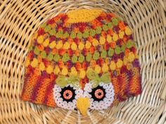 """SIZE LARGE  KNIT & CROCHET OWL SLOUCHY HAT. MULTICOLOR;. 20""""-23"""" CIRCUMFERENCE  #Handmade #SLOUCHY"""