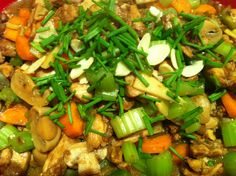 Healthy Chicken and almonds 1 kg of thigh fillets marinated in sweet sherry, cornflour, water and star aniseed Bunch of Celery, 5 carrots, bamboo shoots and mushrooms with sliced roasted almonds and sprinkle with Chinese shallots Serve with rice so tasty and so healthy - Food Glorious Food