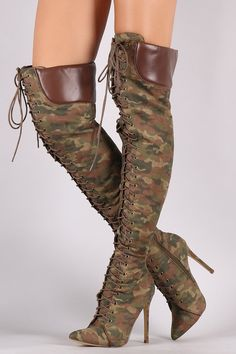 7d29a732637d Liliana Camouflage Pointy Toe Lace-Up Over-The-Knee Boots
