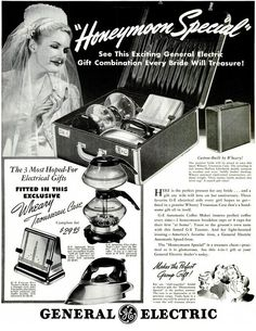 Did you ever wonder what the Three Most Hoped-For Electrical Gifts were? Wonder no more! A triangular toaster, a weird coffee pot and an iron, all in their own suitcase. So you can pretend that cooking and ironing are like having a vacation getaway.