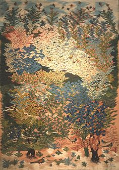 """""""Flowers of the Nile"""" ,1978  wool tapestry, 3.17 m x 2.25 m  by Atteyat Selim (b.1943)  Ramses Wissa Wassef Art Centre, Giza, Egypt"""