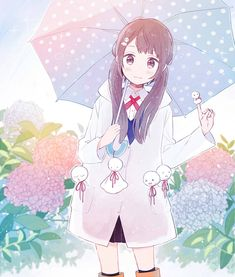 ✮ ANIME ART ✮ rain. . .raindrops. . .rain coat. . .umbrella. . .rain boots. . .twin tails. . .smile. . .flowers. . .sparkling. . .cute. . .kawaii