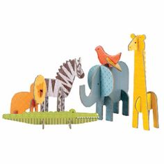 Pop-out and Build Safari Playset – Petit Collage Projects For Kids, Art Projects, Crafts For Kids, Hanging Mobile, Hanging Art, 3d Puzzel, Create An Animal, Atelier D Art, Pop Out