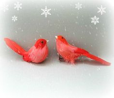 Craft Bird Decor Red Bird Feathered Bird Christmas Bird Miniature Bird Faux Bird Floral Arrangement Wreath Supply Embellishment Centerpiece