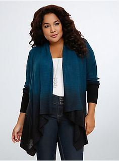 "<p>A knit cardi that will match your ombré highlights. Open stitch teal knit covers the billowy open front design (perfect for wrapping up in), the vivid hue fading to navy and then black as it ebbs towards the hem.</p><p> </p><p><b>Model is 5'10"", size 1</b></p><ul>	<li>Size 1 measures 30"" from shoulder</li>	<li>Acrylic</li>	<li>Wash cold, dry flat</li>	<li>Imported plus size cardigan</li></ul>"