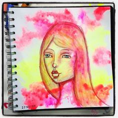 Fluorescent inks & Inktense pencils for day 27 #15minsnanojoumo  #artjournal #mixedmedia #instaartists #nanojoumo #irisimpressionsart