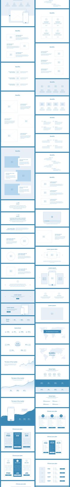 Wireland is a complete wireframing library collection optimized to structure web design projects really fast and easy while getting great results. This library consist on 190+ ready-to-use Layouts sections divided into 15 popular content categories.