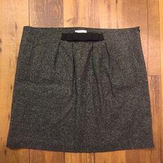 LOFT grey mini skirt size 14 Lined. Elastic now detail in front at waist. Side zipper. LOFT Skirts Mini