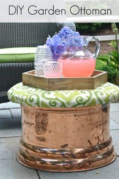 This copper garden hose cover got a makeover as an upholstered storage ottoman for our patio. Oil Painting Lessons, Oil Painting For Beginners, Garden Tool Storage, Garden Tools, Garden Hose, Vase Centerpieces, Bud Vases, Outdoor Projects, Diy Projects