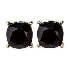 Women's Faceted Stud with 4 Prongs - Black/Gold