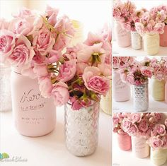 Mother's Day, Spring, Wedding and Home Decor - Painted Mason Jars by Beach Blues.