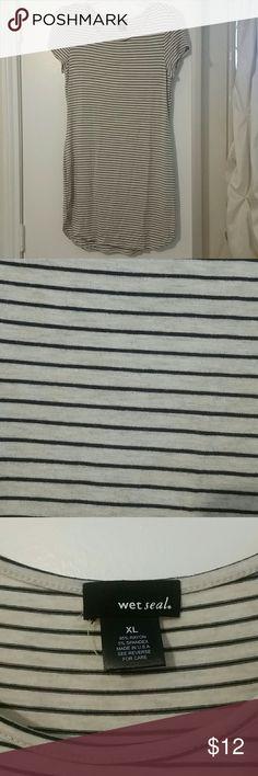 Final discount! NWOT t shirt dress Black stripes with cream, NWOT super soft Wet Seal Dresses