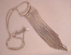 Vintage Espo Sig Sterling Silver Long Chevron Fringe Necklace Designer Signed