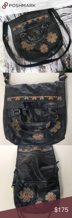 EUC lucky brand Abby road Italian leather purse Great condition! Only mild wear shoes on the handle. 100% Italian leather. Beautiful dark charcoal color, almost black. Beautiful embroidery! Folds over as a cross body or can be held as a tote by its handle. Hard to find pattern. Grab it before it's gone or ends up in my closet! lucky Bags Crossbody Bags