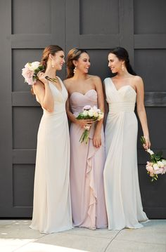 Rent these bridesmaid dresses at www.vowtobechic.com   Long chiffon gowns by Watters. Available in Buff (blush), French Vanilla, Indigo, Stone (gray), Plum, Lavender, Pomegranate (red) and Blue Harbor.