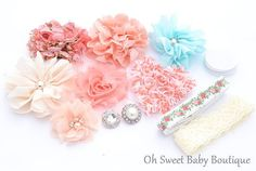 Coral Blossom DIY Headband Kit by OhSweetBabyBoutique on Etsy, $10.00