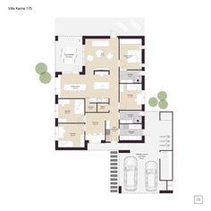 Villa Kerne - arkitekttegnet hus - IDEALHUSE A/S Bungalow, Sims 4 Build, Villa, Planer, Future House, Facade, House Plans, Floor Plans, Flooring
