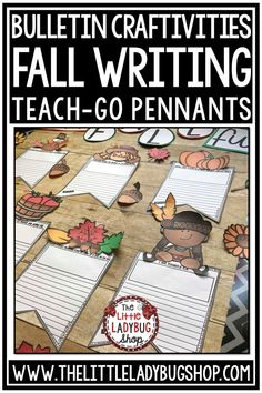 Fall Writing Bulletin Board Kit complete for Halloween Writing and Thanksgiving Activities. It is full with Fall Bulletin Board Letters and Fall Writing Prompts perfect for students in 2nd grade, 3rd grade, 4th grade and home school classrooms. #fallwriting #halloweenwriting #thanksgivingwriting #fallbulletinboard