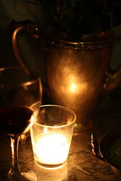 Wine Glass and Candlelight