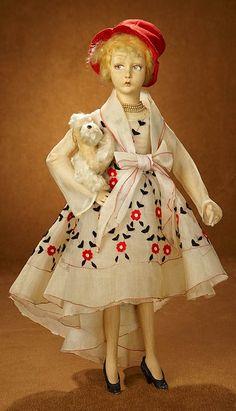Bittersweet - October 28-29, 2017 in Scottsdale, Arizona: 353 Italian Felt Salon Doll as Flapper Lady with White Poodle by Lenci