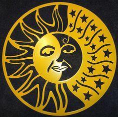 Sun And Moon Art | Sun Moon and Stars Silhouette Metal Wall Art Home Decor…
