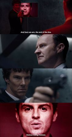 """""""Here we are. The end of the line. Holmes killing Holmes"""" - Moriarty, Mycroft and #Sherlock"""