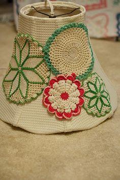 Crochet doily lampshade