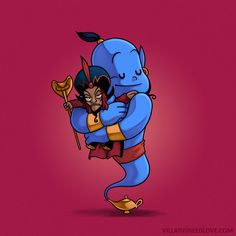 Jafar & Genie - Villains Need Love Too, That's Why I Spent Months Drawing Them Cuddle