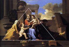 Driehoeks compositie: Belangrijkste delen vormen samen een driehoek die niet symmetrisch hoeft te zijn.
