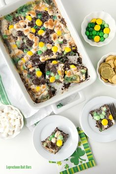 Gooey mint chocolate Leprechaun Bait Bars are sure to attract wee folk of all kinds! An easy dessert recipe with gluten-free and gluten options. via @boulderlocavore
