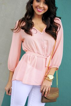 Sweet and innocent peach blouse