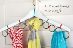 With a few shower rings, you can store your entire scarf collection on just one hanger. Reinforced with embroidery floss, everything stays neatly in place. See more at Everyday Dishes and DIY »   - CountryLiving.com