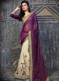 Pleasant Purple Off White Booti Work Jacquard Georgette Half n Half Sarees http://www.angelnx.com/