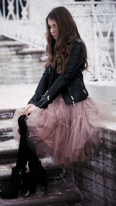 Dusty Pink Tulle Knee-length Skirt with black leather jacket