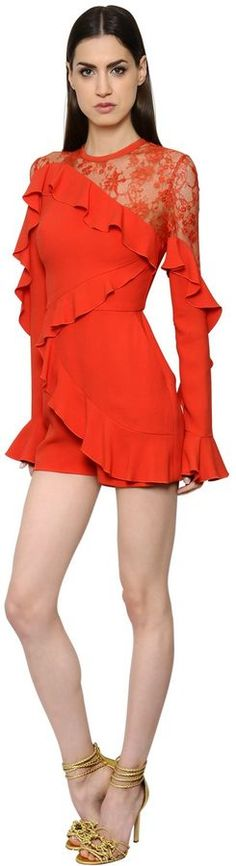 Ruffled Crepe Georgette & Lace Romper   #Chic Only #Glamour Always