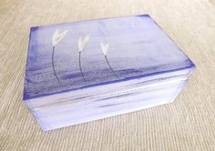 Wooden box  Flowers in blue hand-painted personalized chest