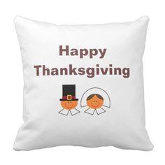 """Happy Thanksgiving Pilgrims"" Pillow"