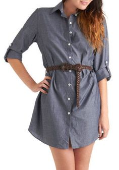 ModCloth Chambray of the Week Dress Chambray Shirtdress Belted M  #ModCloth