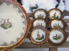 Vintage Teller - vintage Konfiserie Teller Jagd handgem. shabby - ein Designerstück von artdecoundso bei DaWanda