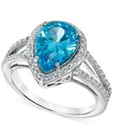 B. Brilliant Aqua and Clear Cubic Zirconia Ring in Sterling Silver